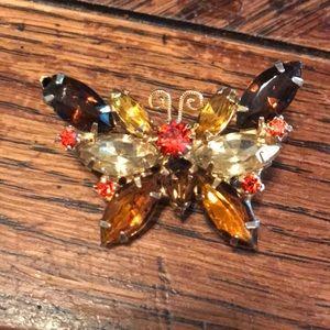 VTG rhinestone butterfly brooch